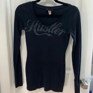 Vintage Hustler 74 Thermal Black Warm V Top S